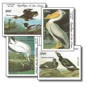 200. Geburtstag von John James Audubon - 4 Briefmarken ungezähnt postfrisch, Katalog-Nr. 853B-856B,