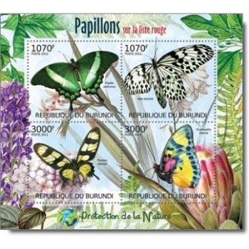 Naturschutz: Schmetterlinge auf der Roten Liste – Briefmarken-Block postfrisch, Burundi