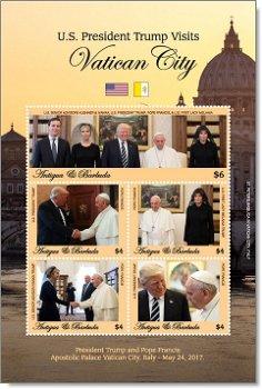 US-Präsident Donald Trump besucht den Vatikan - Briefmarken-Block postfrisch, Antigua Barbuda