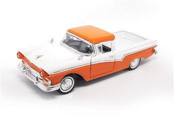 Modellauto:Ford Ranchero Pick Up von 1957, orange-weiß(Lucky Die Cast, 1:18)