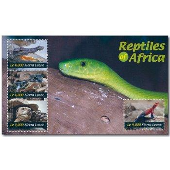 """Reptilien """"Schlange, Gecko und Co."""" - Briefmarken-Block postfrisch, Sierra Leone"""