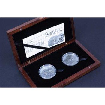 """Zwei Silbermünzen """"Martin Luther King und Barack Obama"""", Cook Inseln"""