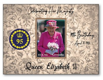 95th birthday of Queen Elizabeth II - pad mint never hinged, St. Vincent