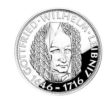 """5-DM-Silbermünze """"250. Todestag Gottfried Wilhelm Leibniz"""", Polierte Platte"""