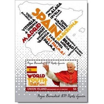 Papst Benedikt XVI. besucht Spanien: Weltjugendtag 2011 - Briefmarken-Block postfrisch, St. Vincent