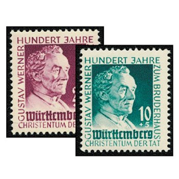 100 years of the Gustav Werner Foundation - 2 stamps mint never hinged, catalog no. 47-48, French zone Wü