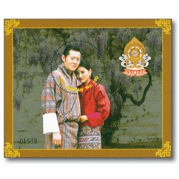 Hochzeitstag von König Jigme Wangchuck und Jetsun Pema - Briefmarken-Block postfrisch, Bhutan