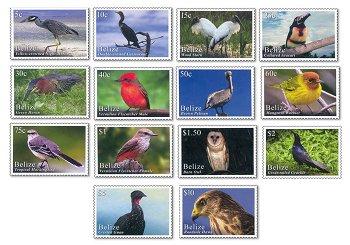 Vögel - 14 Briefmarken postfrisch, Belize