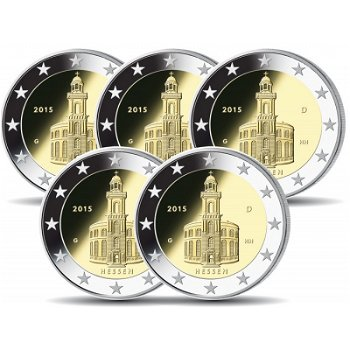 2-Euro-Münzen 2015 - Paulskirche Frankfurt/Hessen, Deutschland, 5 Prägezeichen