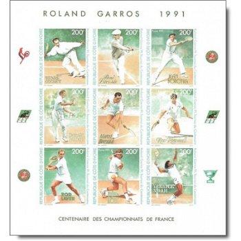 100 Jahre Internationale Französische Meisterschaften im Tennis - 2 Briefmarken-Kleinbogenblocks ung