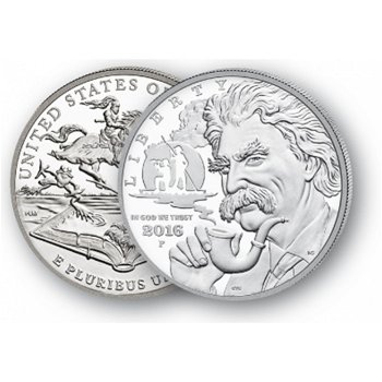 Mark Twain - Silberdollar 2016, 1 Dollar Silbermünze, USA
