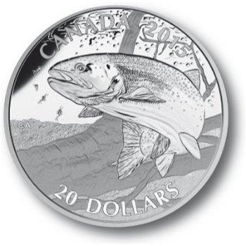 Regenbogenforelle, 20 Dollar Silbermünze, Canada