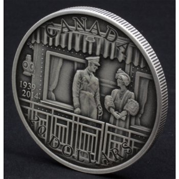 75 Jahre erster königlicher Besuch in Canada, 20 Dollar Silbermünze, Canada