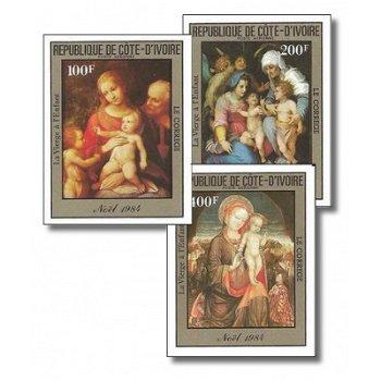 """Weihnachten 1984 """"Gemälde"""" - 3 Briefmarken ungezähnt postfrisch, Katalog-Nr. 842B-844B, El"""