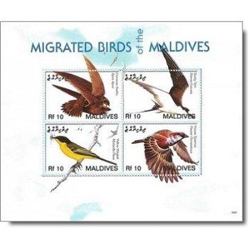 Zugvögel - Briefmarken-Block postfrisch, Malediven