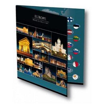 19 europäische 1-Cent-Münzen mit Flagge im Folder
