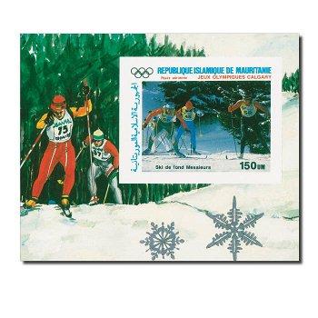 Olympische Winterspiele 1988: Calgary, Skilanglauf - Block postfrisch, Mauretanien
