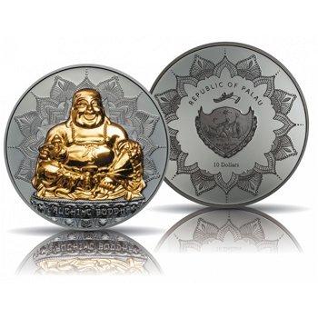 Lachender Buddha, 10 Dollar Silbermünze vergoldet, polierte Platte, Palau