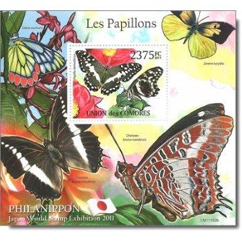 """Philanippon 2011 """"Schmetterlinge"""" - Briefmarken-Block postfrisch, Komoren"""