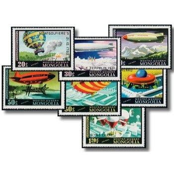 Geschichte der Ballone und Luftschiffe - 7 Briefmarken postfrisch, Katalog-Nr. 1118-24, Mongolei