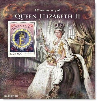 90. Geburtstag Königin Elizabeth II. - Briefmarken-Block postfrisch, Sierra Leone