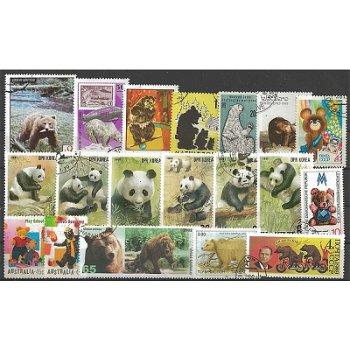 Bären und Pandas - 25 verschiedene Briefmarken
