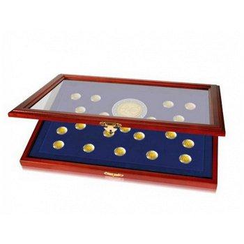 Holz Münz-Vitrine für 20 x 2 Euro Münzen, 10 Jahre WWU, Glasabdeckung, Safe 5889
