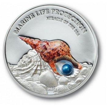 Das Tritonshorn, Silbermünze mit Perle, Palau