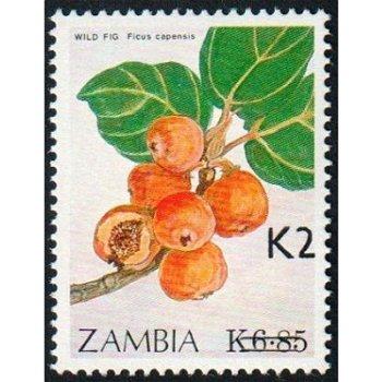 Kapfeige, Ficus Capensis - Briefmarke mit lokalem Aufdruck, Katalog-Nr. 580, Sambia