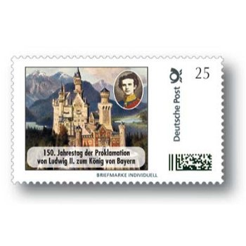 150th anniversary of the proclamation of Ludwig II as King of Bavaria - stamp individually mint never hinged,