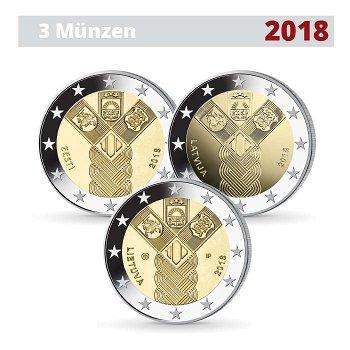 Gemeinschaftsausgabe - 100 Jahre Baltische Staaten, 3 x 2 Euro Münzen 2018, Estland/Lettland/Litauen
