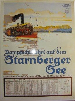 Blechschild:Dampfschiffahrt auf dem Starnberger See(30 x 40 cm)