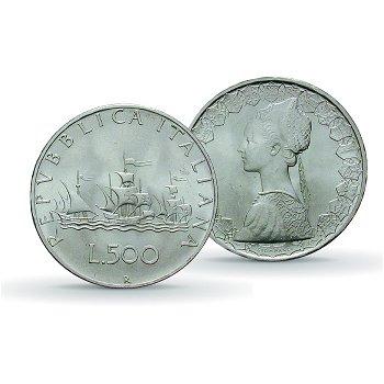 Flotte von Christoph Kolumbus - 500 Lire Silbermünze, vz, Italien, 1958-2001