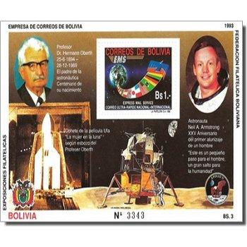 Apollo 11 / Neil Armstrong / Professor Oberth - Briefmarken-Block postfrisch, Block 207, Bolivien