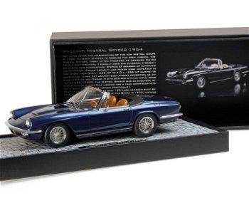 Modellauto:Maserati Mistral Spyder von 1964, blau-metallic(Minichamps, 1:18)