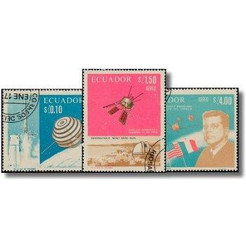 Französisch-amerikanische Zusammenarbeit in der Weltraumforschung - 3 Briefmarken gestempelt, Katalo