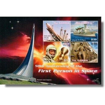 50 Jahre erster Mensch im Weltraum - Briefmarken-Block postfrisch, Gambia