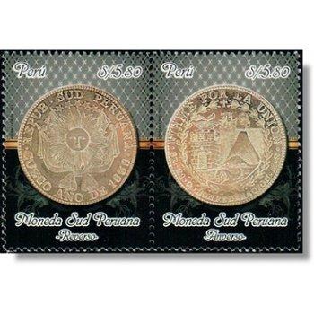 Münze - 2 Briefmarken zusammenhängend gedruckt, Katalog-Nr. 2589-2590, Peru