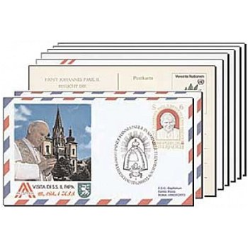 Papst Johannes Paul II. - 8 Briefmarken-Belege, Österreich-Reise