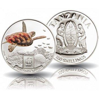 Die Suppenschildkröte, WWF-Münze mit Farbauflage, Tansania