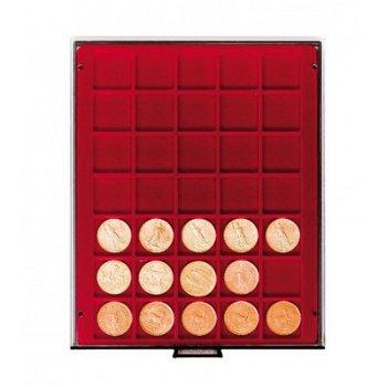 LINDNER Münzenbox, quadratische Vertiefungen 36mm, LI 2735, Rauchglas