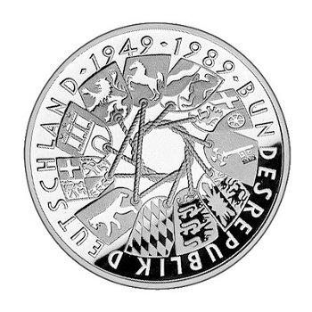 """10-DM-Silbermünze """"40 Jahre Bundesrepublik Deutschland"""", Polierte Platte"""