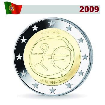 """2 Euro Münze 2009, Wirtschafts- und Währungsunion"""", Portugal"""