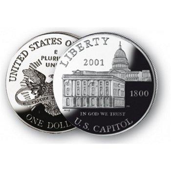 Besucherzentrum im Kapitol - Silberdollar 2001, 1 Dollar Silbermünze, USA