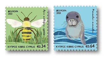 Europa 2021: Gefährdete nationale Wildtiere - 2 Briefmarken postfrisch, Zypern