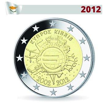 2 Euro Münze 2012, 10 Jahre Euro, Zypern
