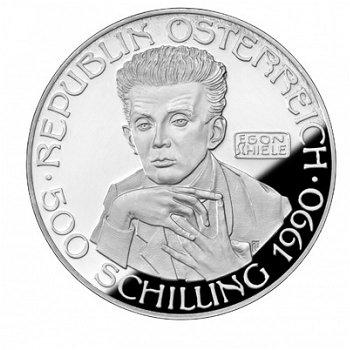 Künstler der Jahrhundertwende: Egon Schiele, 500-Schilling-Münze 1990, Österreich