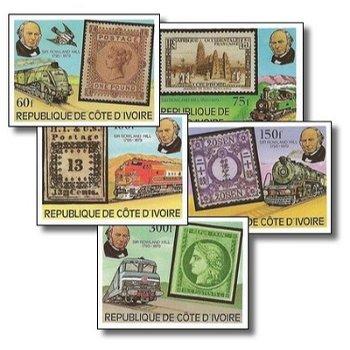 100. Todestag von Sir Rowland Hill - 5 Briefmarken ungezähnt postfrisch, Katalog-Nr. 606B-610B, Elfe