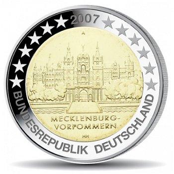 2 Euro Münze 2007, Schweriner Schloss / Mecklenburg-Vorpommern, Deutschland, 1 Prägezeichen