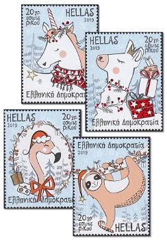 Weihnachten 2019 - 4 Briefmarken postfrisch, Griechenland